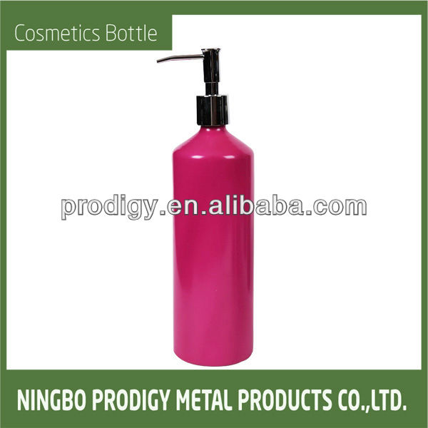 S-700ML Pink Oblique Shoulder Cosmetics Aluminum shampoo bottle