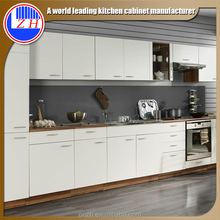 I shape white color high gloss modern style design lacquer kitchen cabinet for experting