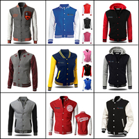 leather sleeve custom man and woman winter bomber jacket/varsity jacket
