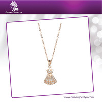 New Fashion Lovely Ballet Dress Cubic Zircon and Rose Gold Plated Pendant Necklace