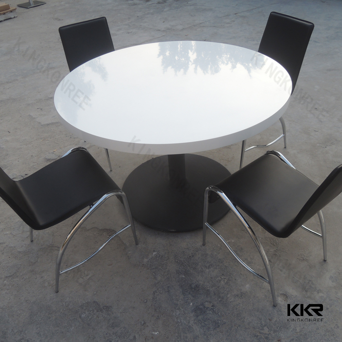 Factory solid surface cream colored dining room table and chairs