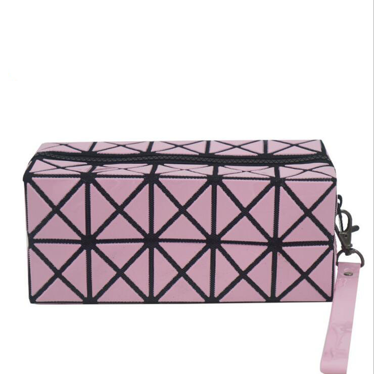 Grid style shape changeable rhombic geometry cosmetic bag makeup bag for ladies