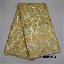 High Quality African gold Organza Sequin lace fabric Hot Sale Swiss Cotton 100% Double Organza Handmade