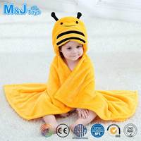 Cute Insect Bee Baby Shower Blanket Plush Flannel Bathrobe with Hood For Kid's