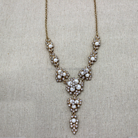 pearl jewelry Y shaped gem stones alloy chocker necklace