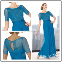 Lace Short Sleeve Custom Made Floor Length Long Evening Party Wear MD025 light blue mother of the bride dresses
