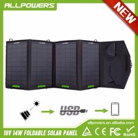 USB 5V DC 18V 14W Foldabl Solar Panel Charger for iphone samsung HTC phones/power bank/18V1A Laptops.