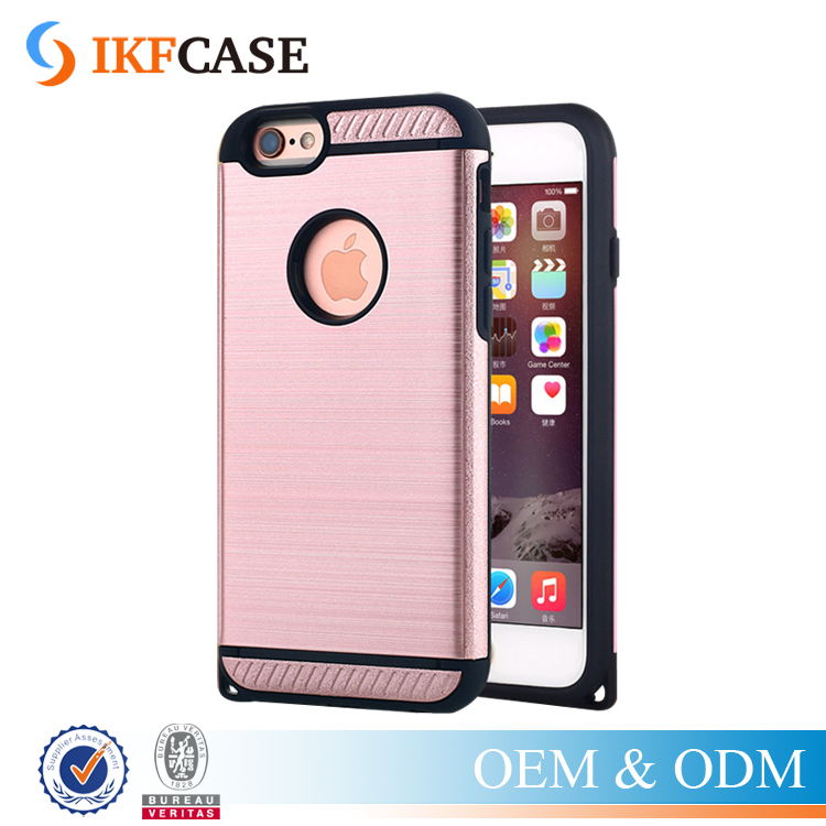 Hot Dual Layer Rugged Slim Armor Silicone TPU + Brushed PC Hard Case For iPhone