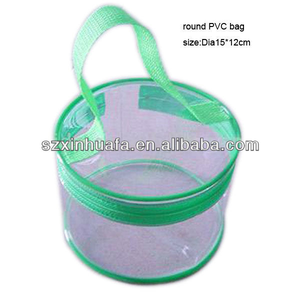(XHF-PVC-055)transparent clear round pvc case plastic pvc packing case bag with zipper closure and top handle