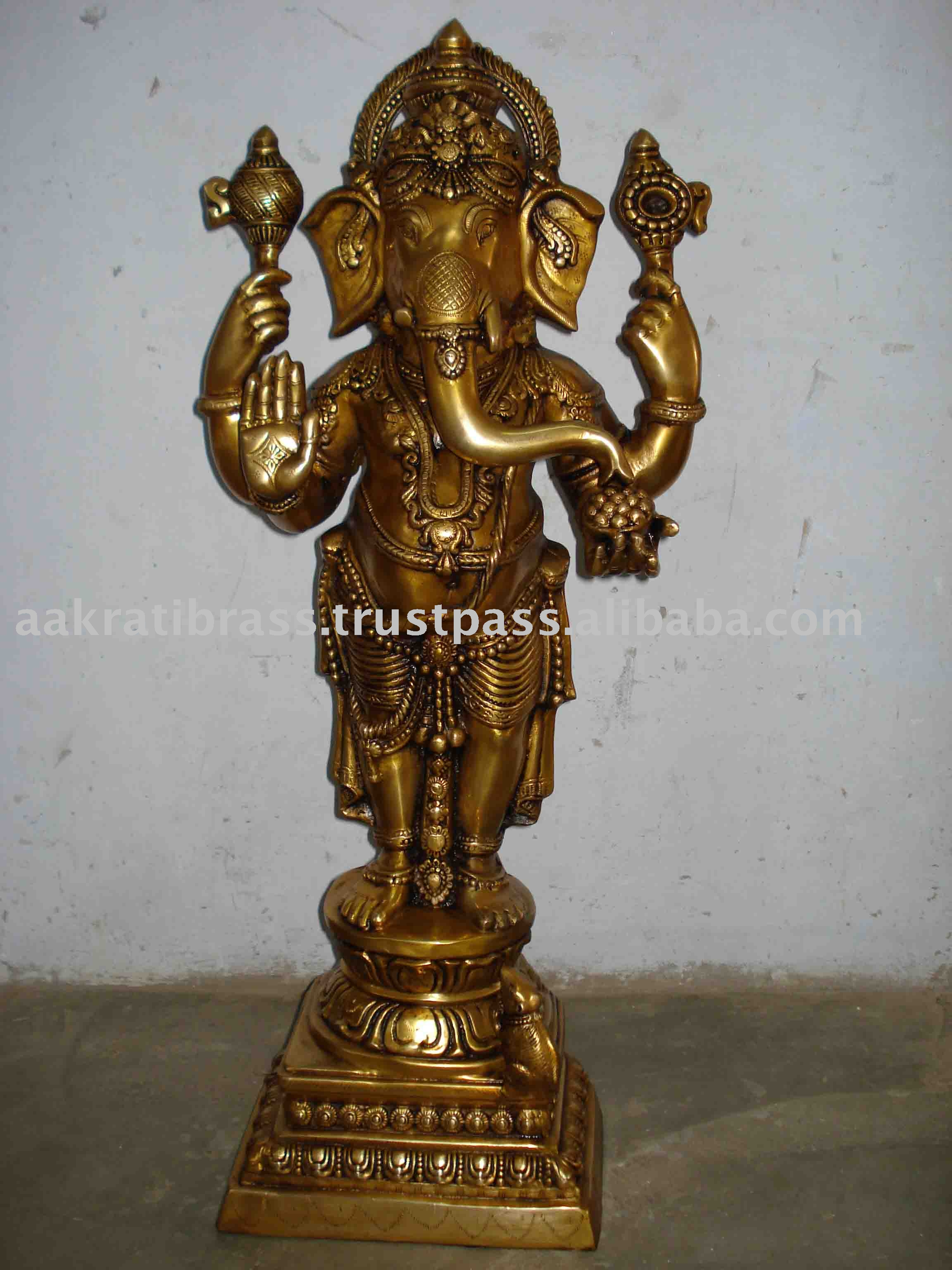 Brassware - Standing Statue of Lord Ganesh made in Brass Metal
