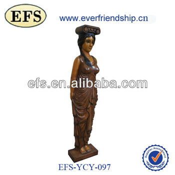 graceful hand carved small wooden statue