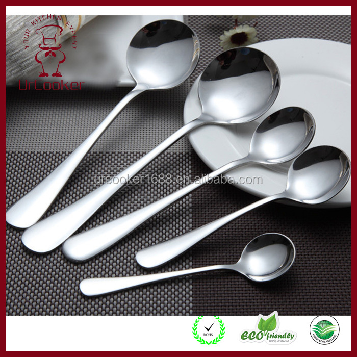 Stainless steel long flat round spoon Long handle seasoning spoon