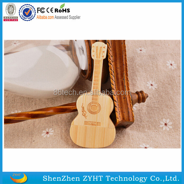hot selling popular delicate wooden guitar shape pendrive usb memory stick with cheap price real capacity