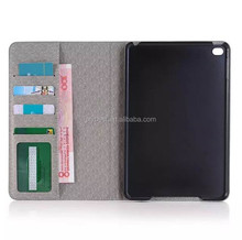 China Factory Contrast Color Leather flip Smart Cover Case for IPAD MINI 4 Card Holder Wallet