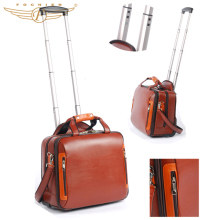 High Quality Multifunctional 16 Inch Trolley Shoulder Cow Leather Laptop Bag