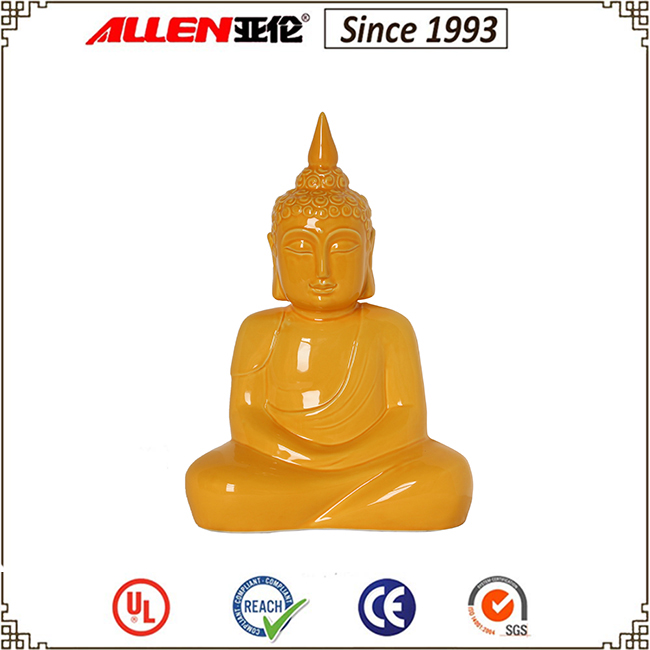 Orange Ceramic Praying Buddha Statue for Buddhism