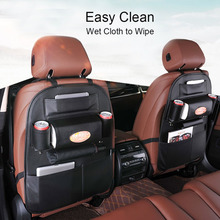 PU Leather Travel Car Backseat Organizer With Muti-Pockets