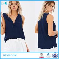 Latest Deep V-neck Sleeveless Women Chiffon Zip Front Blouse LC8311-N