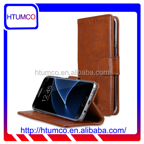 Folio Stand Fashion Genuine Leather Case for Samsung Galaxy S7 Edge