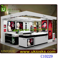 Shopping mall Olay cosmetic display kiosk glass kiosk cosmetic make up cabinets with light box
