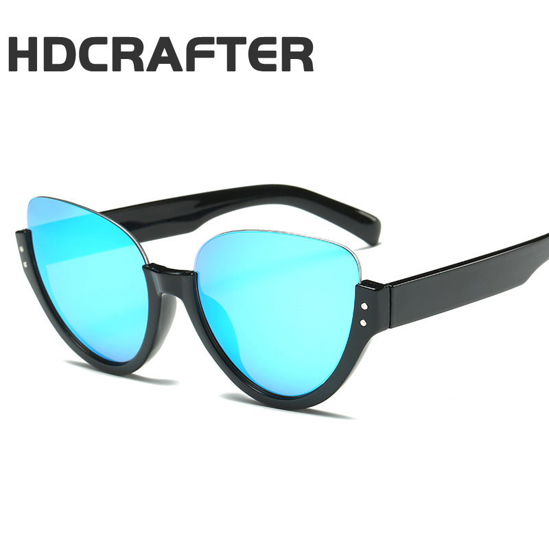 HDCRAFTER Ladies Stylish Cat Eye Sunglasses Women Luxury Brand Half Frame Sun Glasses UV400 Shades