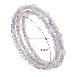Wholesale Acrylic Pearl Wrap Stretch Plastic Glass Crystal Bead Beaded Bracelet 2018