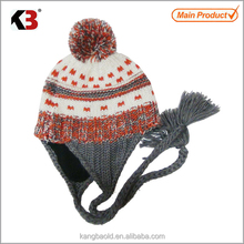 wholesale custom shape brown slouch girls plush style skull beanie hat with ear muff