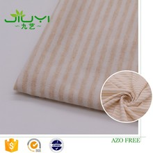wholesale natural colored organic striped 100 cotton single jersey knitted fabric