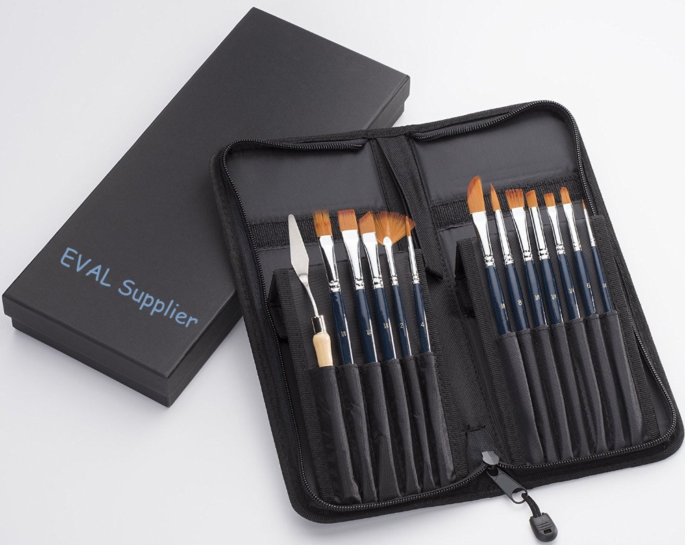 12 arylic, watercolor, oil paint brush set with gift box, pop-up stand bag