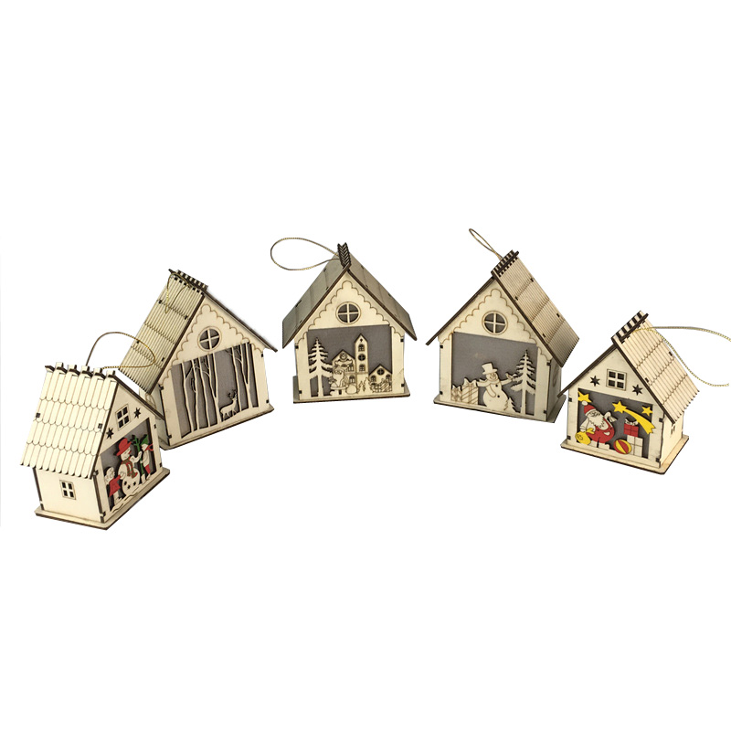 LED light shinning wooden house hanging tree ornaments christmas <strong>decoration</strong>