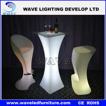 Modern design plastic lighted up led bar cocktail table for night club/led glowing cocktail table