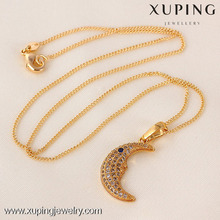 Arabic name design fashion 18k gold color long moon necklaces