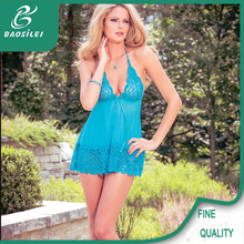 Blue satin sheer lingerie show young sexi girl sexy dress women nighty
