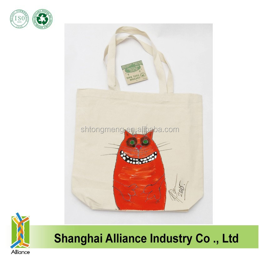 Fashion custom hand painted cute crazy cat cotton canvas tote shoulder bags