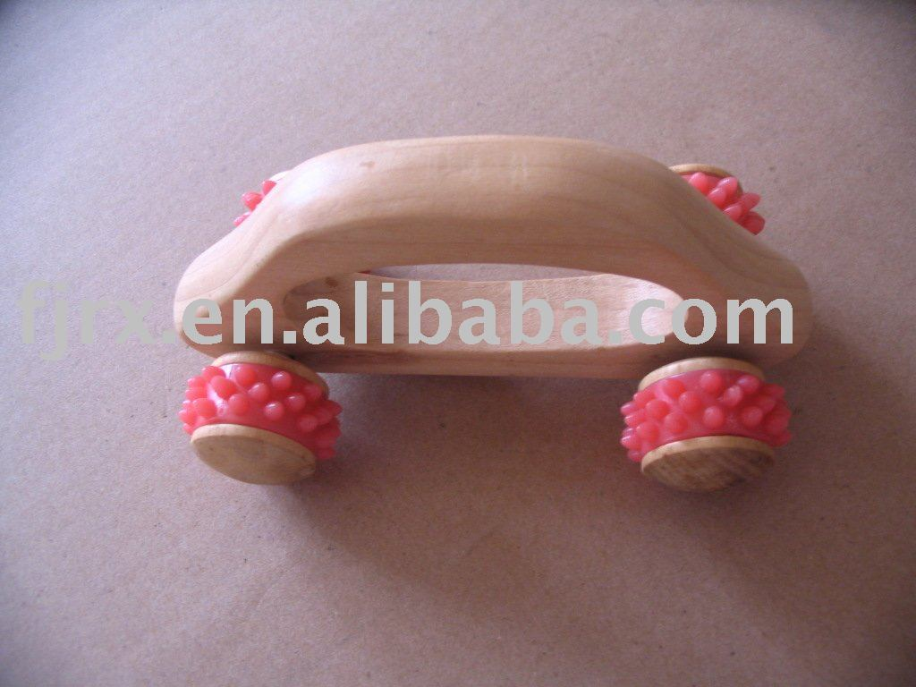wooden rolling massager,for body massager with rubber band