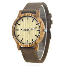 New Arrival China Supplier Eco Friendly Products Japan Movement PC21 Quartz Watch With Wood Case And Canvas Strap