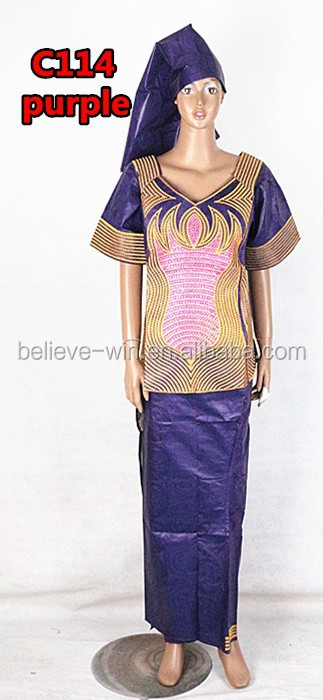 clothes printing bazin african clothing of <strong>c114</strong> purple