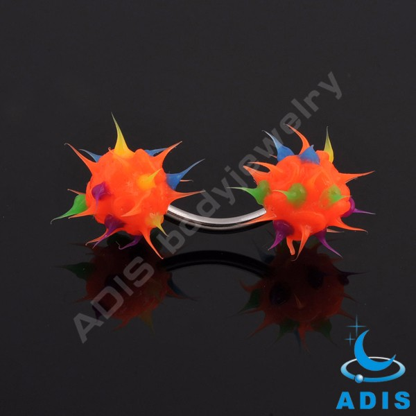 2017 new style eyebrow piercing jewelry stainless steel eyebrow rings with colorful silicone balls