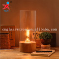 borosilicate glass table lighting covers with wooden base