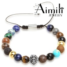 L576 2017 New Fashion Lion Beads Bracelets Wholesale #Custom Logo Jewlery European Beaded Bracelet