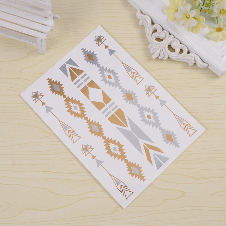 Newest Water Transfer Temporary gold Tattoo Stickers for kids alphabet stickers