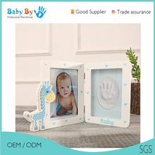 Baby keepsake Wood footprint Clay photo frame kit