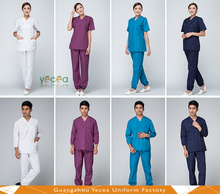 OEM service high quality White100%cotton hospital Medical Scrubs for women/men wear uniform