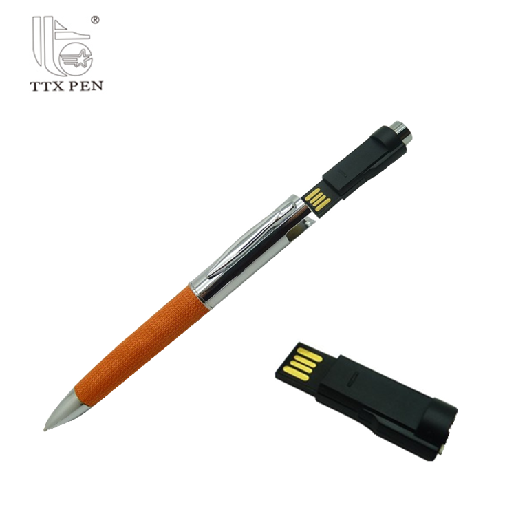 Promotional Gift Cheap metal logo customized magnet pen with usb flash drive Good quality