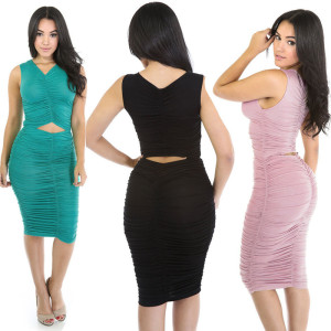 fashion elegant night club hollow tight casual clothing sexy ruffle dress