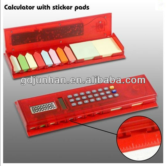 promotion gift ruler calculator with memo pad sticky notes