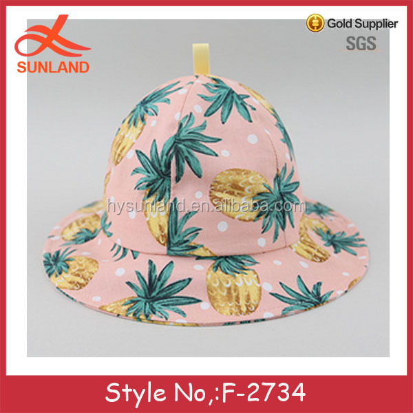 F-2734 new wholesale baby pineapple pattern bucket hats for 2017 summer cartoon caps cotton