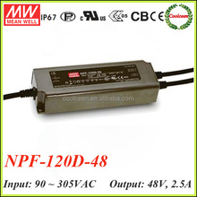 Meanwell NPF-120D-48 120W pfc waterproof dimmable led driver ip67 moving sign