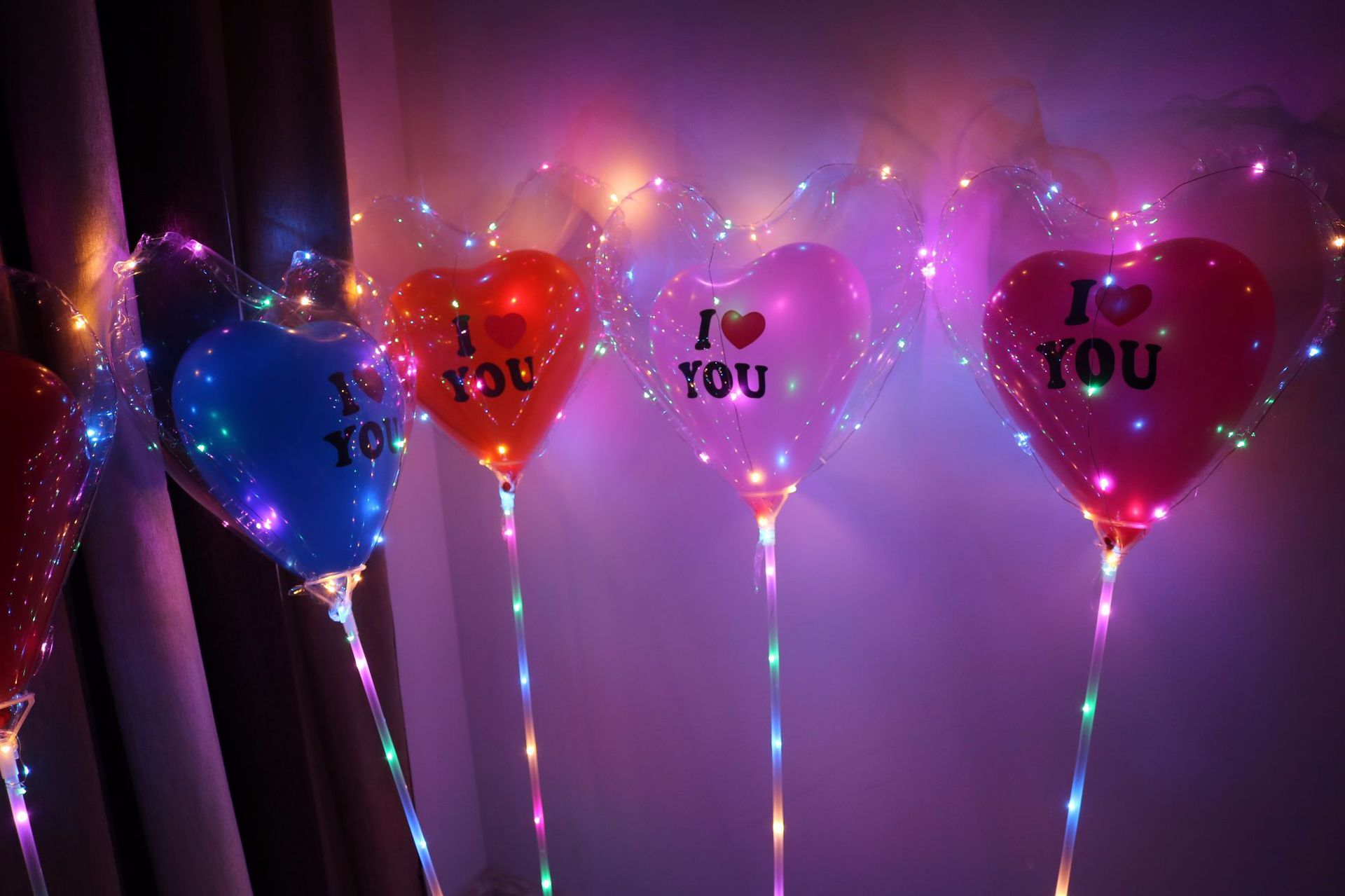 LED Balloon Set Heart Shape Clear Bobo Transparent Balloon With 70cm Pvc Tube Wedding Decorations Birthday Party Supplies