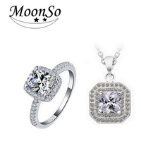 Moonso Multicolor Real 925 Sterling Silver Engagement Wedding Bridal Jewelry Sets for brides KJ903